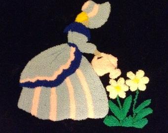 Chenille tufted on velvet Pillow Cover TOP.  Hand made.  New 1950's. Vintage Hollywood Regency.
