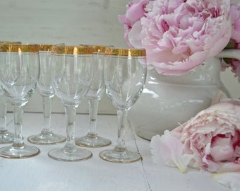 Set of Six Crystal White Wine Glasses with Gold Doré - Vintage French Romantic (Two Sets Available)