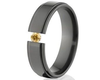 Tension Set Ring, Uniquely You, Black Zirconia, Yellow CZ -  BZ-6RC-P-Tension