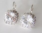 Swarovski Crystal Earrings Silver,Crystal Drop Earrings, Clear Bridal Earrings,10mm Rhinestone Jewelry,Art Deco Jewelry,Wedding Jewelry