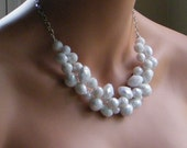 White Chunky Necklace, Bridal Necklace, Wire Crochet Necklace, Statement Necklace, White Faceted ACRYLIC, Wedding Jewelry, Etsy Weddings