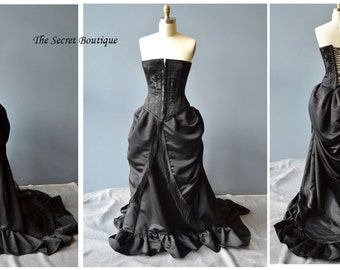 Gothic victorian wedding gown-custom made gown-plus size-corset gown-victorian buslte gown-bustle gown-alternative-Denver bridal gown
