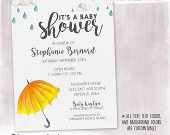 DIGITAL or PRINTED, Watercolor Rain & Umbrella Baby Shower Invitation, Soft clouds, rain shower, baby shower, custom color