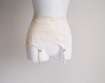 Cream Hip Control, Open Bottom Girdle, with Garters - Sz 26