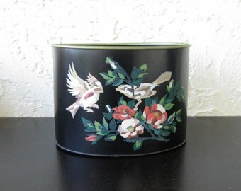 Vintage Paint by Number Metal Stationary Holder Vintage Desk Accessory  Birds and Flowers PBN Tole