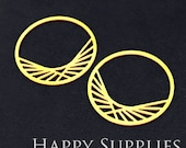 Exclusive - 4pcs Raw Brass Round Charm / Pendant, Fit For Necklace, Earring, Brooch (RD152)