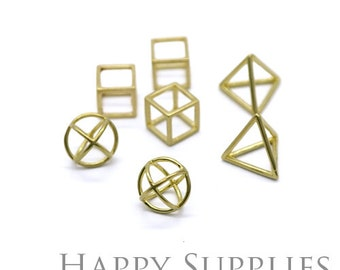 3D Geometric Circle Triangle Square Cube Raw Brass Pendant (3D04-6)