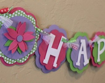 Flower HAPPY BIRTHDAY Banner Hot Pink Lime Green Purple Baby Shower Girl Shabby Chic First Party Room Decorations