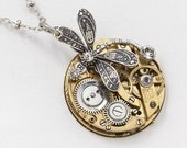 Steampunk Necklace Vintage Gold Pocket Watch Movement with Silver Dragonfly Pendant and Swarovski Crystal in Steel Gears Statement Necklace