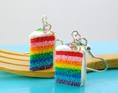 Rainbow Cake Earrings // Colorful Food Jewelry Food Earrings // MADE TO ORDER