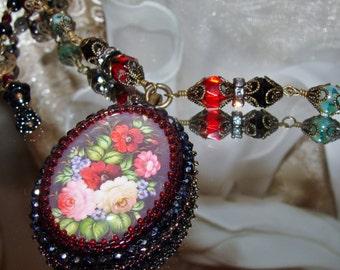 Zhostovo roses bead embroidery pendant necklace Sacred Jewelry Pamelia Designs