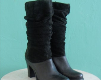 vintage black leather suede slouch boots // boots with a stacked heel // size 7 / 38