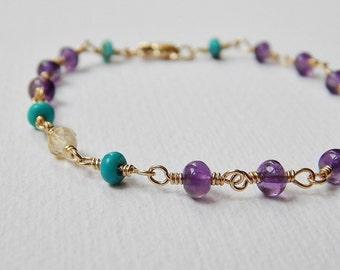 Amethyst, Turquoise and Citrine Bracelet - Gold Filled Rosary Bracelet Beaded Bracelet Beadwork Bracelet Rosary Chain