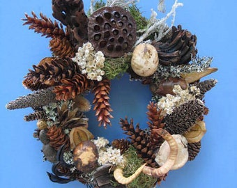 Pinecone and Dried Seed Pod Wall or Door Wreath–PW70