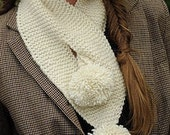 Fashion Scarf with pom pom in any color/Pass through Scarf / Hand Knitted Fall Leaf Scarf, Ascot, Scarflette / Design your own keyhole scarf