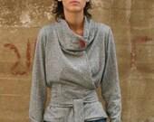cardigan sweater - wrap jacket - wrap sweater jacket - wrap top - cozy sweater - chunky sweater - gray sweater - WrapSweater