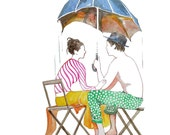 Lovers on rainy day seating under umbrella watercolor