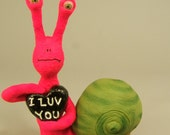 Valentine Day's Snail Clay Sculpture