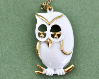 Vintage White Enamel Owl Necklace Owl on Branch Necklace