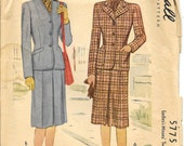 McCALL 5775 Size 18 Bust 36 Two Piece Jacket Blazer Lapel Gored Skirt Suit Vintage 1940's Pattern