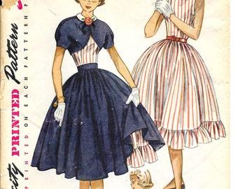 SIMPLICITY 3865 Size 14 Bust 32 One-Piece Dress Full Circle Skirt Over Skirt Bolero Jacket Peter Pan Collar Vintage 1950's Pattern