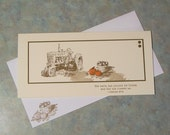 """Handmade Thanksgiving Card - 8.25"""" x 4"""" - Stampin Up Harvest Blessing - Tractor & Pumpkins Includes Stamped Envelope"""