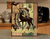 """Handmade Greeting Card - The Best Thing About Me is YOU - 6.5"""" x 5"""" - Nature Themed - Fawn, Bird, Butterflies & Mushrooms"""