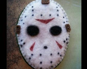 Handsewn Jason Vorhees magnet, felt brooch, Friday the 13th ornament, christmas ornament, Halloween ornament