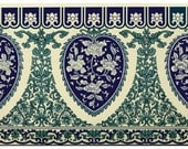 vintage chinese wallpaper design pattern heart and flowers chinoiserie digital download