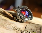 Dragonfly Ring, Dragon Breath Ring, Mexican Fire Opal Ring, Fall Gifts, Gothic Ring, opal ring, Curved Tail dragon, Opal, Christmas gift