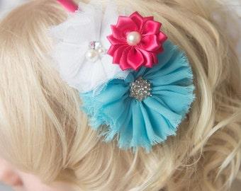 Hot Pink hard headband, turquoise flower headband, girl hair accessories, flower girl headband, flower head piece, flower girl gift, womens