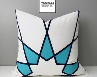 Turquoise Blue Outdoor Pillow Cover, Modern Sunbrella Pillow Cover, Geometric Art Deco Throw Pillow Case, Navy Blue & White Cushion Cover
