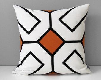 Orange Outdoor Pillow Cover, Modern Black White Pillow Case, Decorative Throw Pillow Case, Geometric Mid-Century Sunbrella Cushion Cover