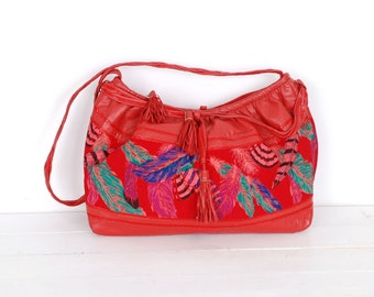 Vintage 1980s Bag / 80s Feather Print Leather Purse / Red