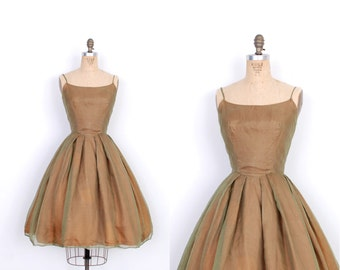 Vintage 1950s Dress / 50s Organdy Party Dress / Green and Bronze (small S)