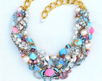 Pink & Blue Statement Necklace, Chunky Vintage Rhinestone Necklace, Colorful Wedding Necklace, Easter Necklace