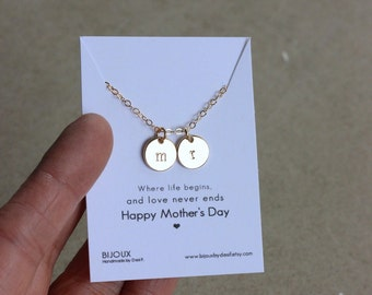 Mothers Day,  Initial Disc Necklace, 14K Goldfilled...Choose Amount of Discs