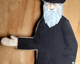 One of a kind original hand painted wooden artwork - Charles Darwin
