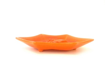 Vintage Orange Ceramic Ashtray