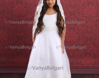 First Communion veil, Flower girl's veil, Catholic veil, Holy Communion veil, Church veil, Baptism veil, Confirmation lace veil