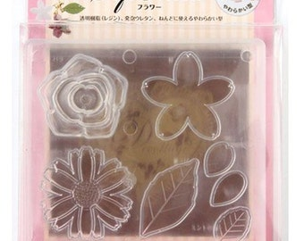 Japanese UV Resin & Clay Soft Mold, Padico, Fake Flower Accessories, Sakura, Cherry Blossom, Rose, Leaf, Marguerite, Cute Bag Charms, mo004