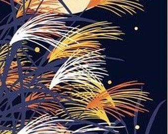 Japanese Tenugui Cotton Fabric, Japanese Silver Grass, Full Moon, Autumn Design, Fall Fabric, Hand Dyed Fabric, Art Wall, Home Decor, h083