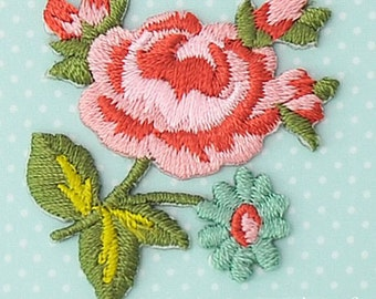 Rose Patch - Rose Embroidered Iron On Patch, Japanese Kawaii Flower Iron on Applique,  Made in Japan, Floral Embroidery Applique, W071