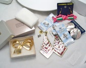 lot of crafting supplies repurpose reuse silver charms fish shell earrings avon bow rinestone brooch pin