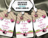 12 Personalized Favor Tags, Gift Tag, Bridal Shower, Baby Shower, Birthday Party, Hot Pink and Green, Lady Bugs