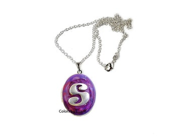 Personalized Lockets Metal Letter Inlaid in Hand Painted Purple and Fuchsia Enamel with Sterling Silver Chain Custom Colors Available