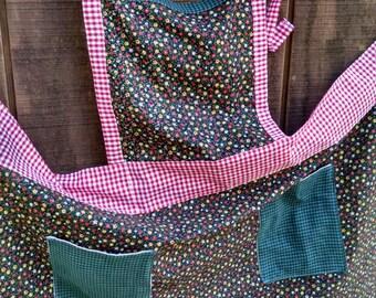 Handmade Apron, Full Kitchen Apron, Upcycled Apron, Vintage Fabric Apron