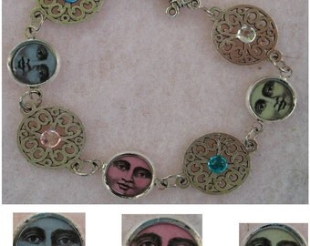 "Silver Vintage Style Moon Face Link Bracelet Jewelry Handmade NEW Fashion 8"" Picture Frame Multi-Color Charms"
