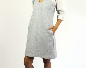 Snowdrop herringbone fleece dress / Gray V neck cozy dress / Fall winter fashion / Sweater Dress