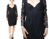 80s Black Lace Dress Sheer Lace Sleeves Long Sleeve Little Black Dress Black Bustier Dress Sweetheart Neckline Sexy Lace Party Dress (M)